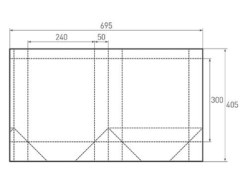 Штамп для вырубки вертикального бумажного пакета v 240-300-100 (1 шт. на штампе). Привью 500x375 пикселов.