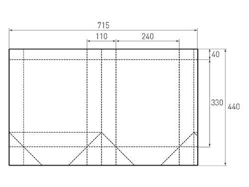 Штамп для вырубки вертикального бумажного пакета v 240-330-110 (1 шт. на штампе). Привью 500x375 пикселов.