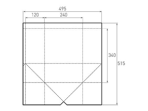 Штамп для вырубки квадратного бумажного пакета k 240-340-240. Привью 500x375 пикселов.