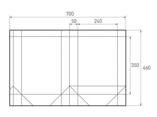 Штамп для вырубки вертикального бумажного пакета v 240-350-100 (1 шт. на штампе). Привью 500x375 пикселов.
