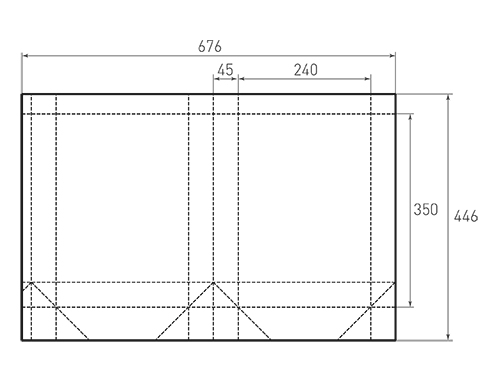 Штамп для вырубки вертикального бумажного пакета v 240-350-90 (1 шт. на штампе). Привью 500x375 пикселов.