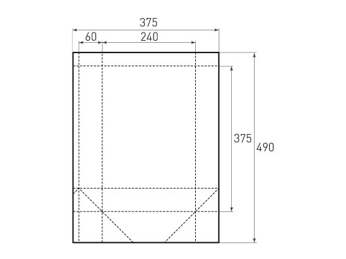 Штамп для вырубки вертикального бумажного пакета V 240-375-120(1 шт. на штампе). Привью 500x375 пикселов.