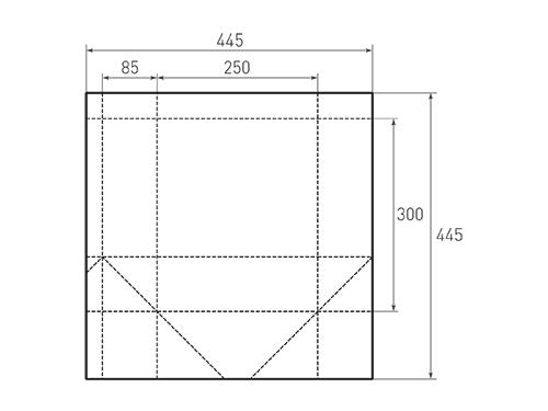 Штамп для вырубки вертикального бумажного пакета v 250-300-170 (1 шт. на штампе). Привью 500x375 пикселов.