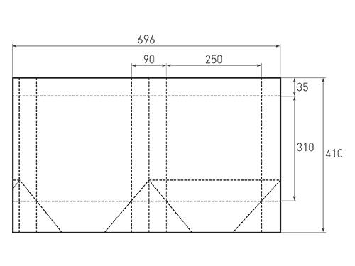 Штамп для вырубки вертикального бумажного пакета v 250-310-90 (1 шт. на штампе). Привью 500x375 пикселов.