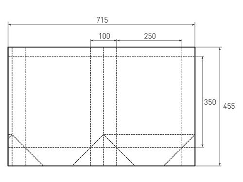 Штамп для вырубки вертикального бумажного пакета v 250-350-100 (1 шт. на штампе). Привью 500x375 пикселов.