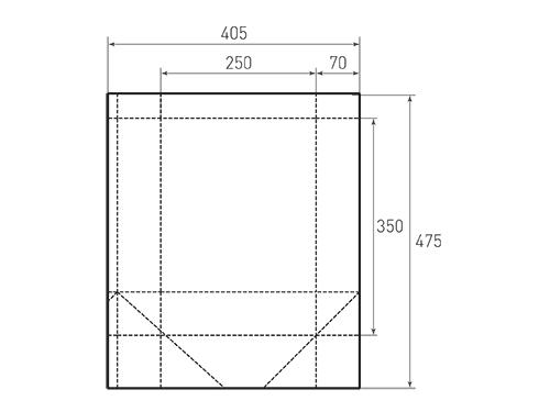 Штамп для вырубки вертикального бумажного пакета v 250-350-140 (1 шт. на штампе). Привью 500x375 пикселов.