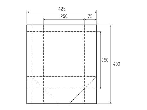 Штамп для вырубки вертикального бумажного пакета v 250-350-150 (1 шт. на штампе). Привью 500x375 пикселов.