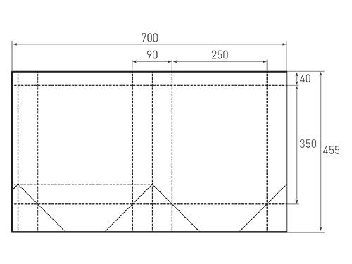 Штамп для вырубки вертикального бумажного пакета v 250-350-90 (1 шт. на штампе). Привью 500x375 пикселов.