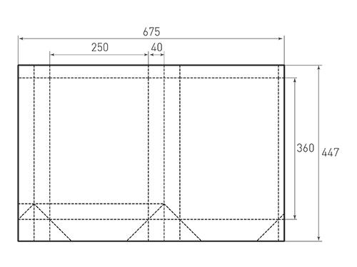 Штамп для вырубки вертикального бумажного пакета v 250-360-80 (1 шт. на штампе). Привью 500x375 пикселов.