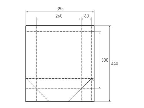 Штамп для вырубки вертикального бумажного пакета v 260-330-120 (1 шт. на штампе). Привью 500x375 пикселов.