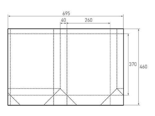 Штамп для вырубки вертикального бумажного пакета v 260-370-80 (1 шт. на штампе). Привью 500x375 пикселов.