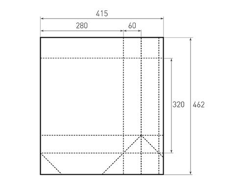 Штамп для вырубки вертикального бумажного пакета v 280-320-120 (1 шт. на штампе). Привью 500x375 пикселов.