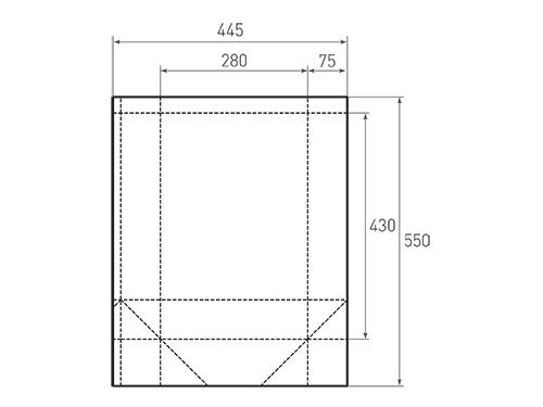 Штамп для вырубки вертикального бумажного пакета v 280-430-150 (1 шт. на штампе). Привью 500x375 пикселов.