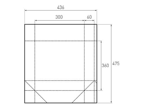 Штамп для вырубки вертикального бумажного пакета v 300-360-120 (1 шт. на штампе). Привью 500x375 пикселов.