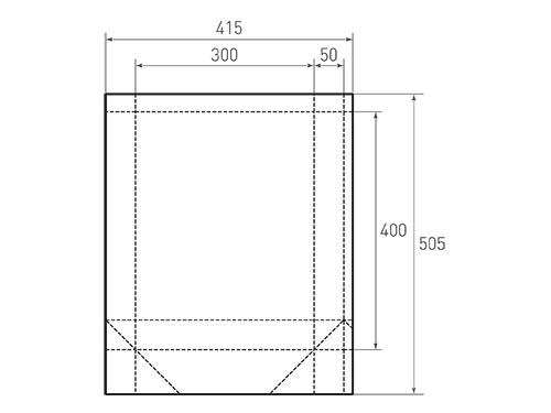 Штамп для вырубки вертикального бумажного пакета v 300-400-100 с ручками (1 шт. на штампе). Привью 500x375 пикселов.
