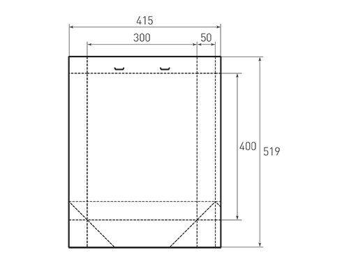 Штамп для вырубки вертикального бумажного пакета v 300-400-100 с прорезями (1 шт. на штампе). Привью 500x375 пикселов.