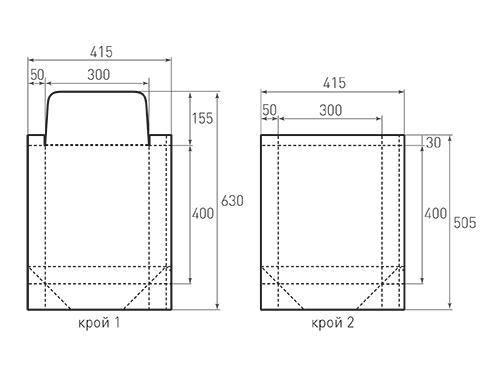 Штамп для вырубки вертикального бумажного пакета v 300-400-100 (1 шт. на штампе). Привью 500x375 пикселов.