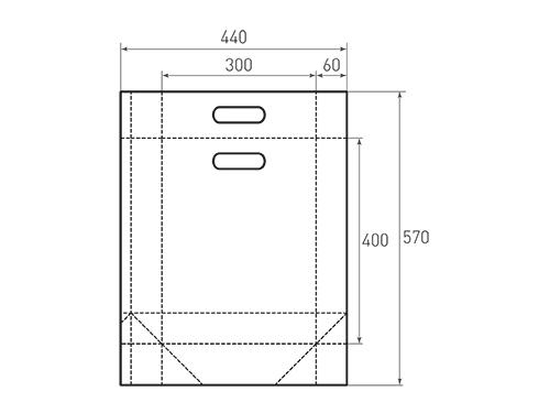 Штамп для вырубки вертикального бумажного пакета v 300-400-120 с ручками (1 шт. на штампе). Привью 500x375 пикселов.