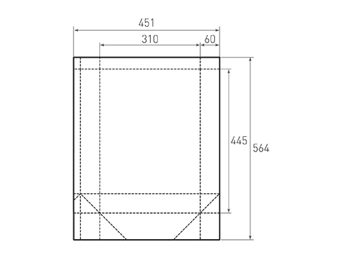Штамп для вырубки вертикального бумажного пакета v 310-445-120 (1 шт. на штампе). Привью 500x375 пикселов.