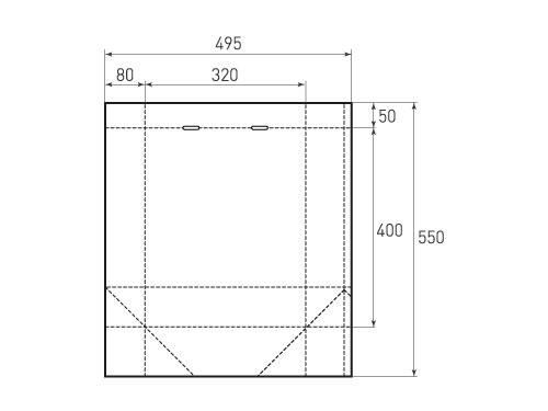 Штамп для вырубки вертикального бумажного пакета V 320-400-160 (1 шт. на штампе). Привью 500x375 пикселов.