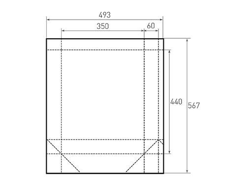 Штамп для вырубки вертикального бумажного пакета v 350-440-120 (1 шт. на штампе). Привью 500x375 пикселов.