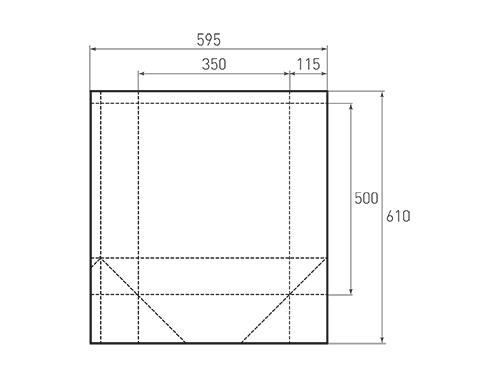 Штамп для вырубки вертикального бумажного пакета v 350-500-230 (1 шт. на штампе). Привью 500x375 пикселов.