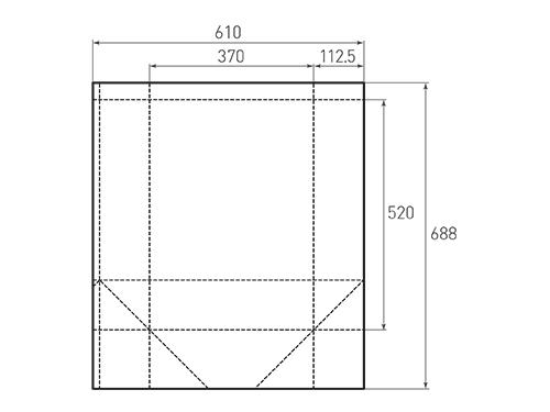Штамп для вырубки вертикального бумажного пакета v 370-520-225 (1 шт. на штампе). Привью 500x375 пикселов.