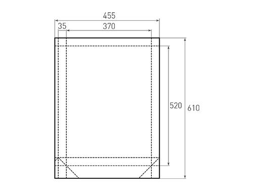 Штамп для вырубки вертикального бумажного пакета v 370-520-70 (1 шт. на штампе). Привью 500x375 пикселов.