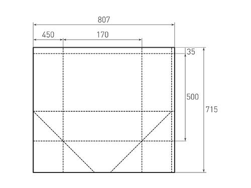 Штамп для вырубки вертикального бумажного пакета v 450-500-340 (1 шт. на штампе). Привью 500x375 пикселов.