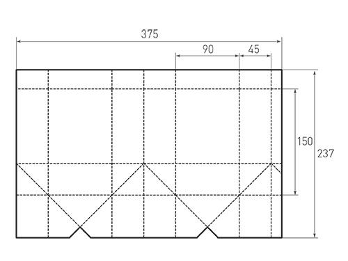 Штамп для вырубки вертикального бумажного пакета под бутылку v 90-150-90. Привью 500x375 пикселов.