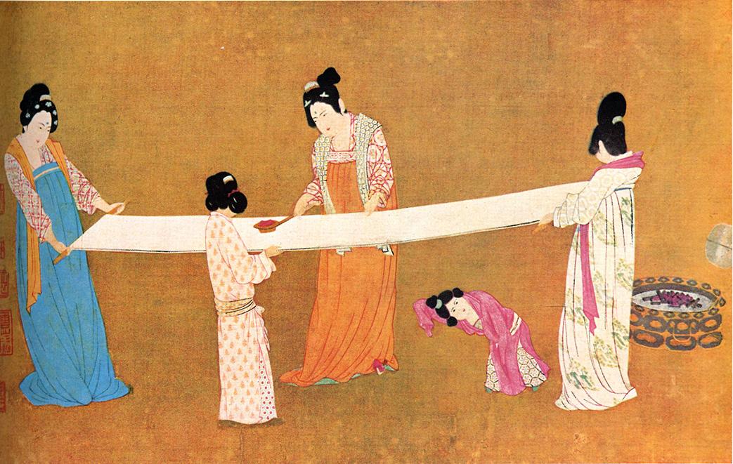 Изготовление шелковой ткани с рисунков в Китае