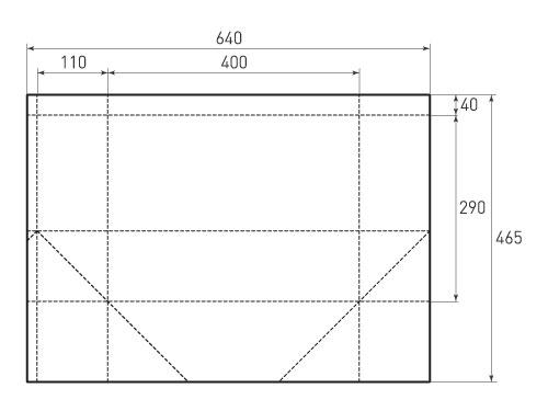 Штамп для вырубки горизонтального бумажного пакета g 400-290-220 (1 шт. на штампе). Привью 500x375 пикселов.