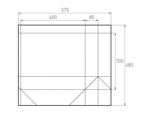 Штамп для вырубки горизонтального бумажного пакета g 400-350-160 (1 шт. на штампе). Привью 500x375 пикселов.
