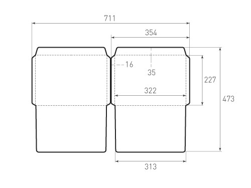 Штамп для вырубки горизонтального конверта C4 KG 322x227 (2 шт. на штампе). Привью 500x375 пикселов