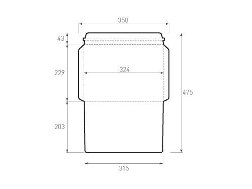 Штамп для вырубки горизонтального конверта C4 kg 324x229 курьерский (1 шт. на штампе). Привью 500x375 пикселов