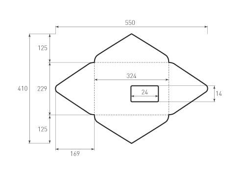 Штамп для вырубки горизонтального конверта c4 kg 324x229 (1 шт. на штампе). Привью 500x375 пикселов