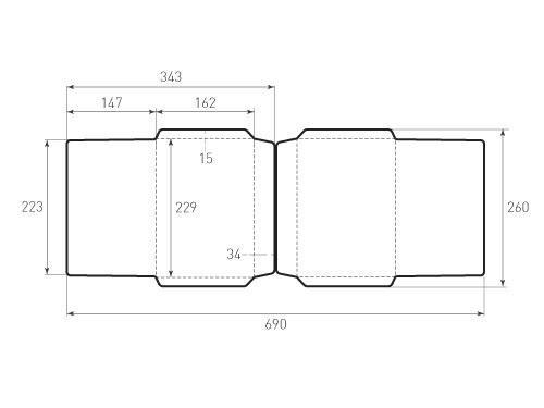 Штамп для вырубки горизонтального конверта c5 kg 229x162 (2 шт. на штампе). Привью 500x375 пикселов
