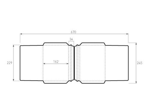 Штамп для вырубки горизонтального конверта С5 kg 229x162 курьерский (2 шт. на штампе). Привью 500x375 пикселов