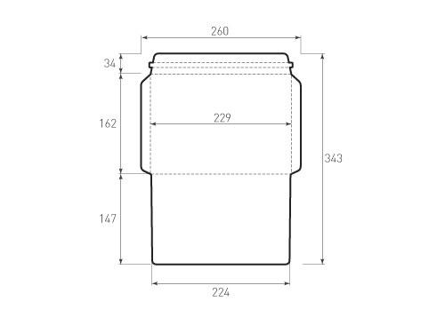 Штамп для вырубки горизонтального конверта С5 kg 229x162 курьерский (1 шт. на штампе). Привью 500x375 пикселов