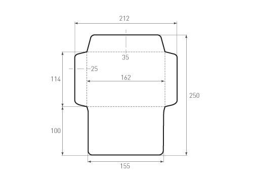 Штамп для вырубки горизонтального конверта С6 kg 162x114 (1 шт. на штампе). Привью 500x375 пикселов