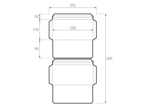 Штамп для вырубки горизонтального евро конверта kg 220x110 курьерский (2 шт. на штампе). Привью 500x375 пикселов