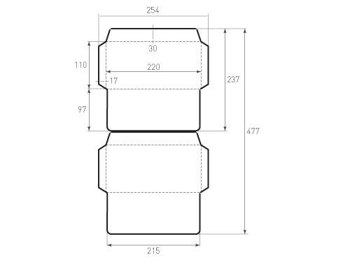 Штамп для вырубки горизонтального евро конверта kg 220x110 для индиго (2 шт. на штампе). Привью 500x375 пикселов
