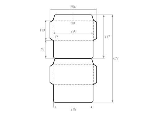 Штамп для вырубки горизонтального евро конверта kg 220x110 (2 шт. на штампе). Привью 500x375 пикселов