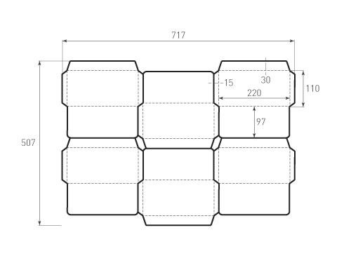 Штамп для вырубки горизонтального евро конверта kg 220x110 (6 шт. на штампе). Привью 500x375 пикселов