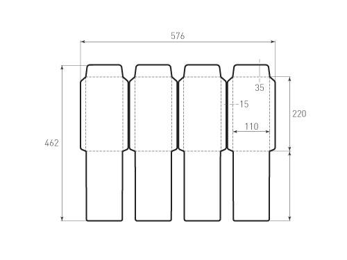 Штамп для вырубки вертикального конверта kv 110x220 (4 шт. на штампе). Привью 500x375 пикселов