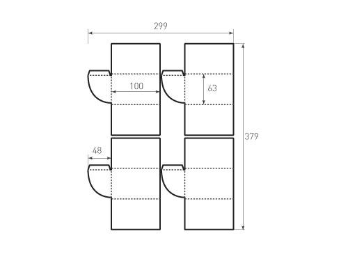 Штамп для вырубки папки фс 63x100 затвор, 4 штуки, для ключей. Привью 500x375 пикселов.