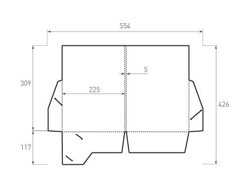 Штамп для вырубки папки фв 225x309x5 с 2 карманами. Привью 500x375 пикселов.