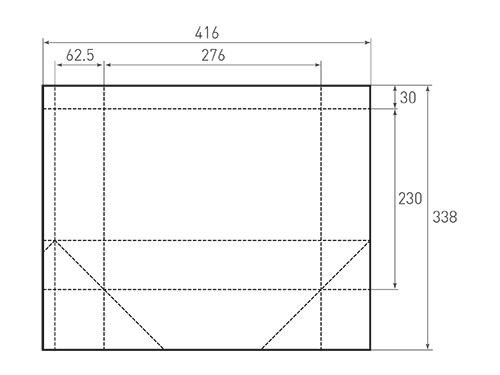 Штамп для вырубки горизонтального бумажного пакета g 276-230-125 (1 шт. на штампе). Привью 500x375 пикселов.