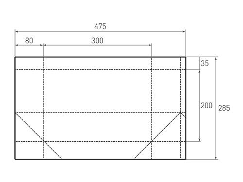 Штамп для вырубки горизонтального бумажного пакета g 300-200-160 (1 шт. на штампе). Привью 500x375 пикселов.