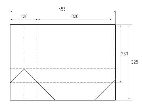 Штамп для вырубки горизонтального бумажного пакета g 320-250-120 (1 шт. на штампе). Привью 500x375 пикселов.
